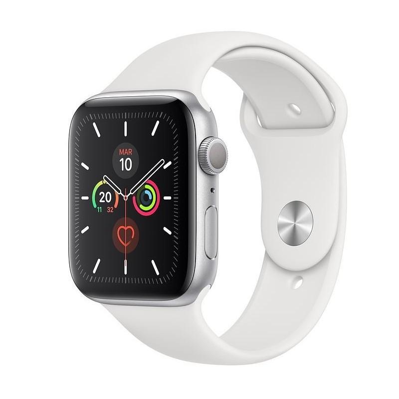 Apple Watch Serie 5 32GB Silver Alu Case 44mm White Sport Band Europa